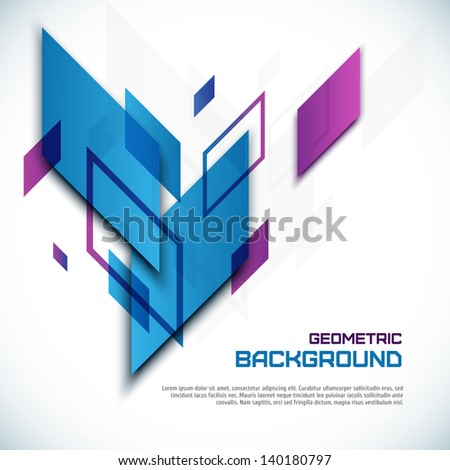 3D geometric abstract background - stock vector