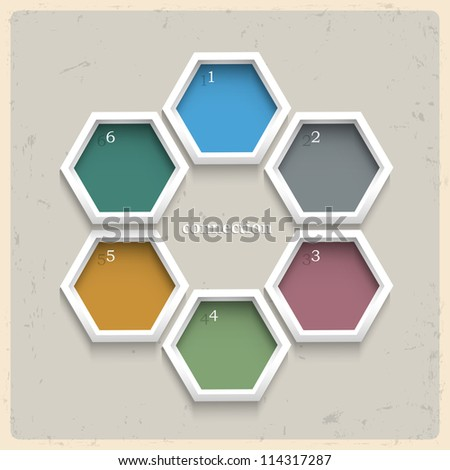 3d geometric colored numbered banners .Vector design template - stock vector