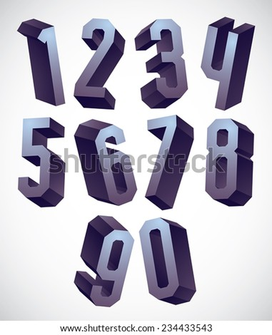 3d geometric numbers set, monochrome glossy numerals for advertising and web design. - stock vector