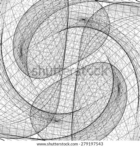 3D Geometric Organic Wireframe Shape Vector 62 - stock vector
