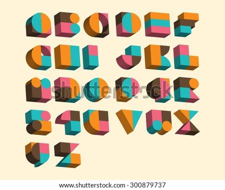 3D Geometrical Font Set - stock vector
