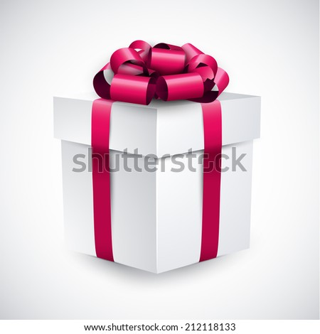 3d gift box with magenta bow. Realistic vector illustration.  - stock vector