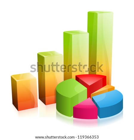 3d Glass Graph with Reflection, easy change color, vector - stock vector