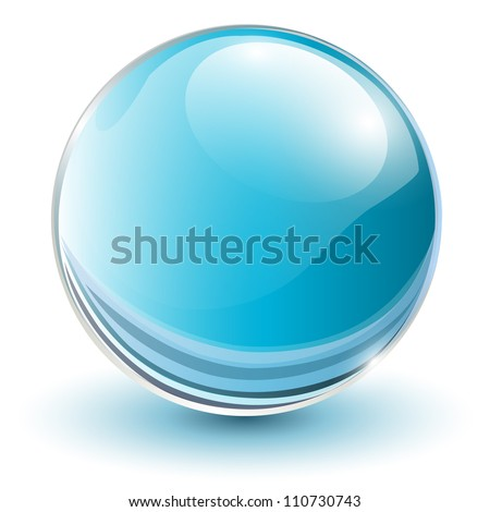 3D glass sphere blue, vector illustration. - stock vector