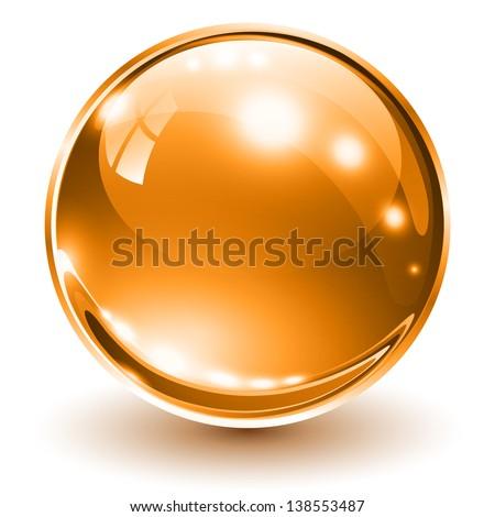 3D glass sphere orange, vector illustration. - stock vector