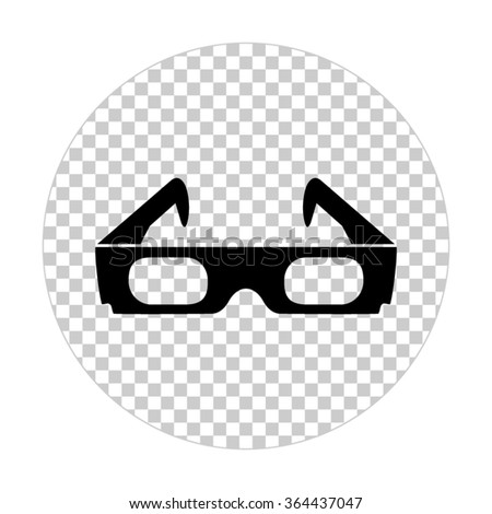 3d glasses  - black vector icon - stock vector