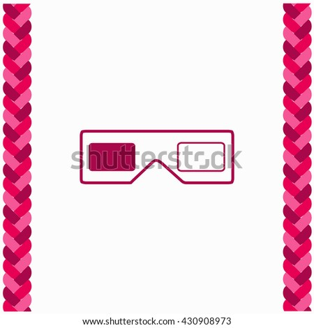 3d glasses icon Flat Design. Isolated Illustration. - stock vector