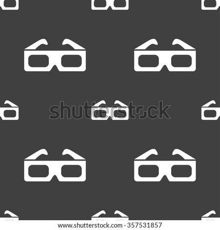 3d glasses icon sign. Seamless pattern on a gray background. Vector illustration - stock vector
