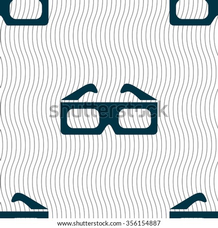3d glasses icon sign. Seamless pattern with geometric texture. Vector illustration - stock vector