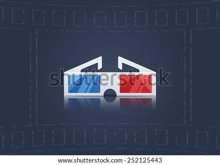 3D Glasses Icon. Vector Illustration - stock vector