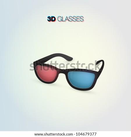 3D glasses in 3D - stock vector