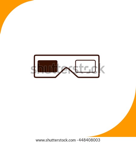 3d glasses sign. Brown icon on white background - stock vector