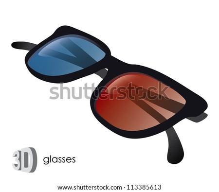 3D glasses - vector illustration - stock vector