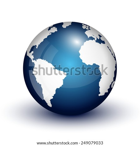 3D globe icon of the world map - stock vector