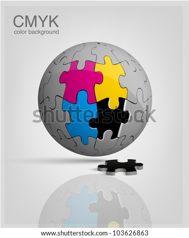 3d globe made from puzzle pieces. CMYK vector - stock vector