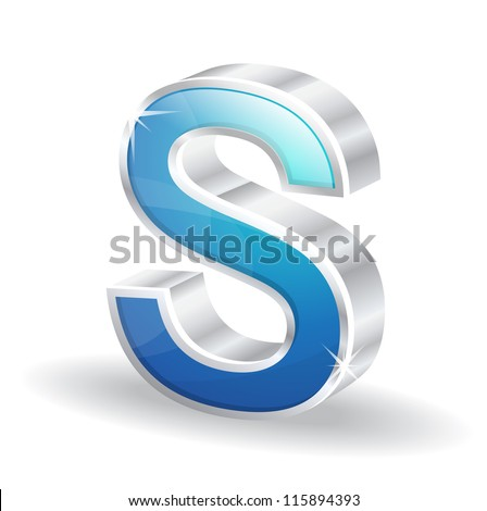 3d Glossy Alphabet D Letter Vector Character - stock vector