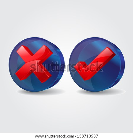 3d Glossy Glass Right Wrong Icon - stock vector