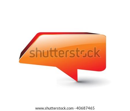 3d glossy messenger window icon vector illustration isolated on white background - stock vector