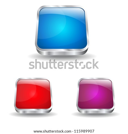 3d Glossy Rounded Rectangle Icon - stock vector
