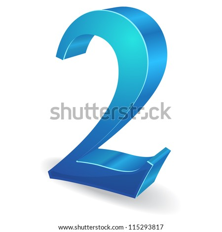 3d Glossy Two 2 Number  Vector - stock vector