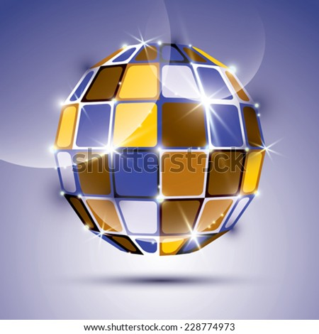 3D glossy unusual mirror ball created from geometric figures. Vector festive illustration - eps10 dimensional bright gemstone.  - stock vector