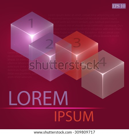 3d glowing transparent cubes for infographics. Colorful abstract background with three-dimentional geometric elements. Vector geometry for logo design, presentations and web. - stock vector