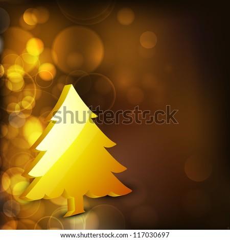 3D golden Christmas tree on snowflake background. EPS 10. - stock vector