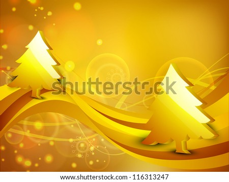 3D golden Christmas tree on wave background. EPS 10. - stock vector