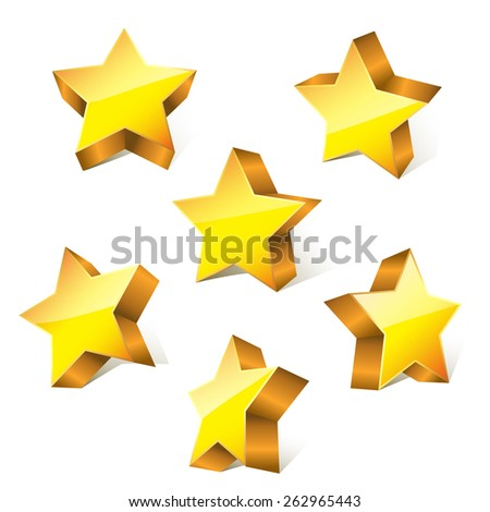 3d golden little bright stars set with variations. vector illustration - stock vector