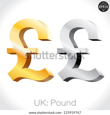3D golden & Silver Pound sign isolated on white, England money, vector illustration. - stock vector