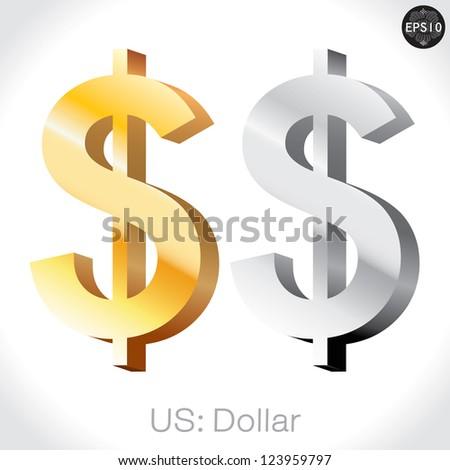 3D golden & Silver US Dollar sign isolated on white, USA money, vector illustration. - stock vector