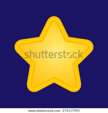 3D golden star icon on blue background, eps 10 - stock vector