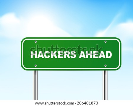 3d hackers ahead road sign isolated on blue background - stock vector