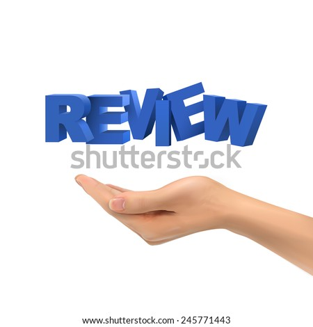 3d hand holding review words over white background - stock vector