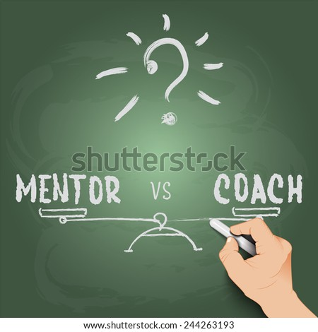3d hand writing mentor or coach, against the background of blackboard - stock vector