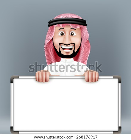 3D Handsome Saudi Arab Man in Traditional Dress Stand Holding Big Blank White Board with Space for Text or Business Messages while Smiling and Talking. Editable Vector Illustration - stock vector
