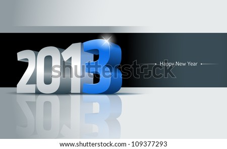 3D 2013 Happy New Year greeting card. All elements are layered separately. Easy editable. - stock vector