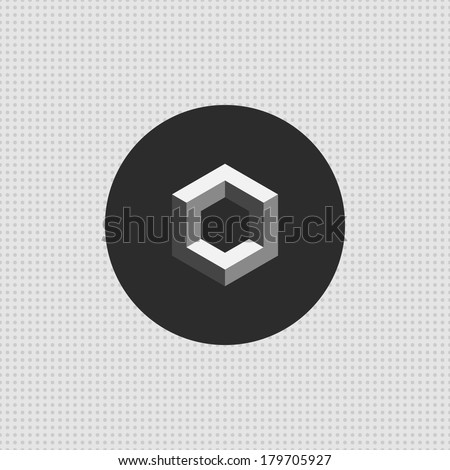 3d hexagon icon. Vector geometric symbol. Design element. Black and white concept.  Minimal dots pattern. Use for wallpaper, pattern fills, web page background, surface textures. Easy to edit.  - stock vector