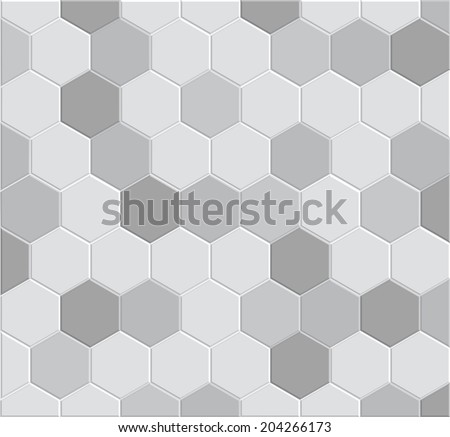 3d hexagon tile brick pattern for decoration and design tile floor, pathway clay brick stone - stock vector