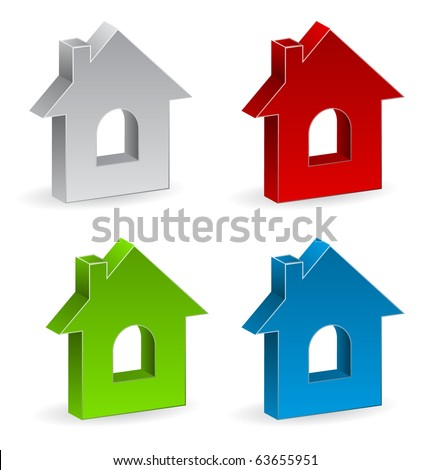 3d house icon - stock vector