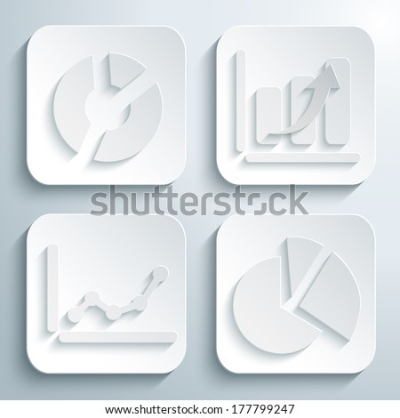 3D icons set - business graphs and charts. White app buttons. Eps10 - stock vector