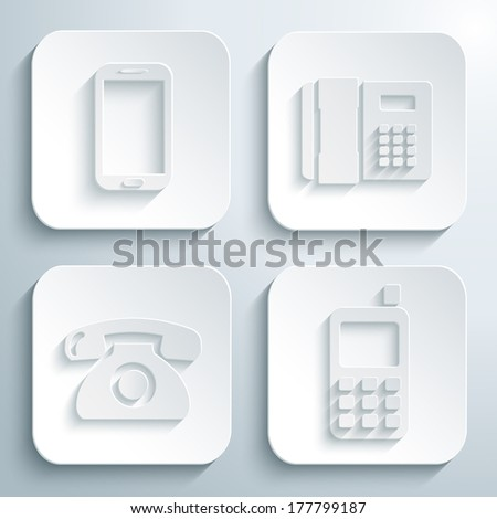 3D icons set - smart phone, office telephone, retro telephone, mobile phone. White app buttons. Eps10 - stock vector