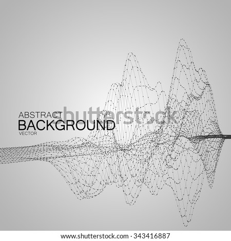 3D illuminated abstract digital wave of glowing particles and wireframe. Futuristic vector illustration. HUD element. Technology concept. Abstract background - stock vector
