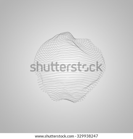 3D illuminated distorted sphere of wireframe. Futuristic vector illustration. HUD element. Technology concept - stock vector