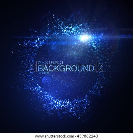 3D illuminated neon wreath or splash of glowing particles and lens flare light effect. Futuristic vector illustration. Technology concept. Digital explosion - stock vector