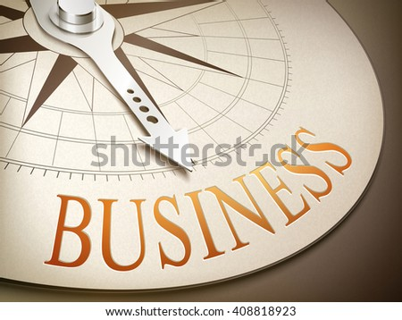 3d illustration compass needle pointing the word business - stock vector