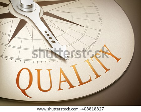 3d illustration compass with needle pointing the word quality - stock vector