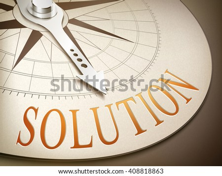 3d illustration compass with needle pointing the word solution - stock vector