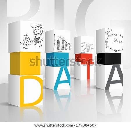 3d illustration concept: data - stock vector