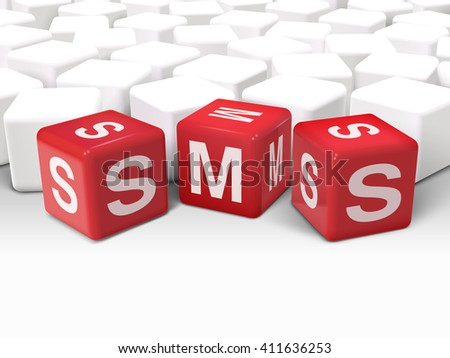 3d illustration dice with word SMS short message service on white background - stock vector